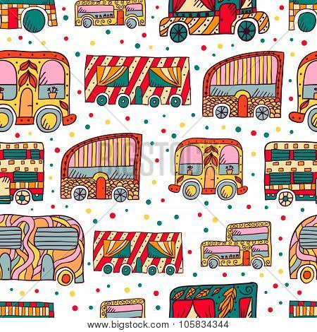 Seamless Pattern With Doodle Recreational Vechicles