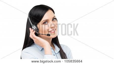 A Portrait Of Smiling Cheerful Support Phone Operator In Headset. Isolated On White Background.