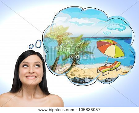 A Portrait Of Astonishing Brunette Woman Who Dreams About Summer Vacation On The Beach. A Nice Summe