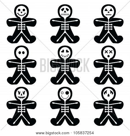 Halloween icons set including vary skeleton characters in gingerbread man shape