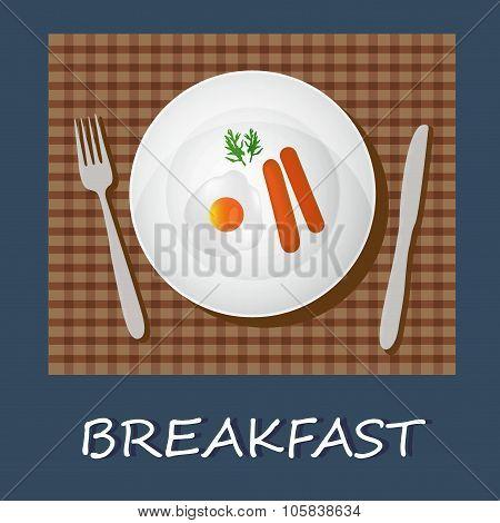 egg omelet and sausages, breakfast concept, banner, vector illustration