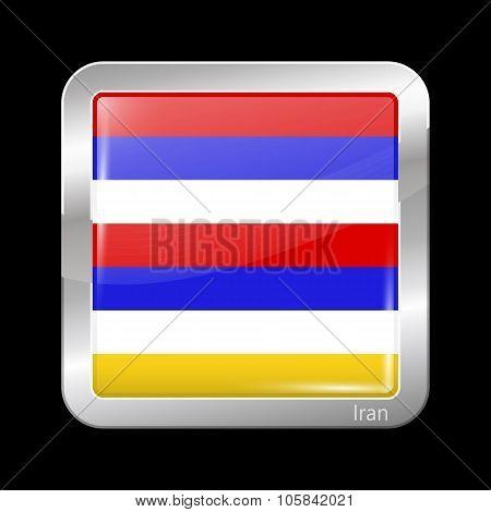 Imperial Variant Flag Of Iran. Metallic Icon Square Shape