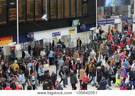 London, England - May 11th, 2015: The busy concourse of Waterloo Railway Station connects most of So