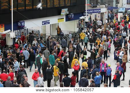 London, England - October 26th, 2015: The busy concourse of Waterloo Railway Station