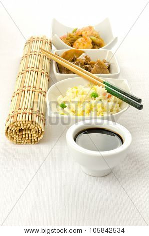 Chinese food dishesm cantonese rice, noodles, beef with bamboo