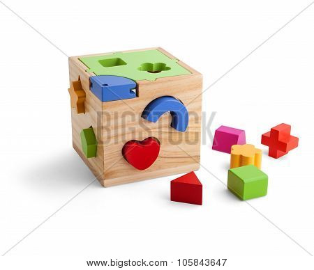 Wooden Puzzle Toy With Colorful Blocs Isolated Over White