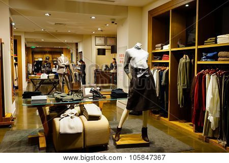 SHENZHEN, CHINA - OCTOBER 15, 2015: KK Mall shopping mall interior. KK Mall is high-end shopping mall in Shenzhen, within walking distance of both Citic Plaza and MixCity.