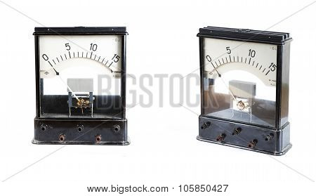 the analog ammeter isolated on white background