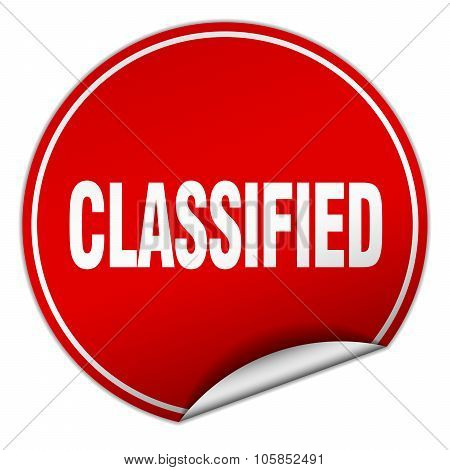 Classified Round Red Sticker Isolated On White