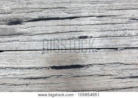 Old Rough Gray Wooden Planks Full Of Cracks