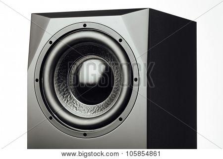 professional studio subwoofer speaker on white background