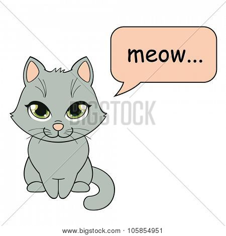 Kitty saying meow, vector
