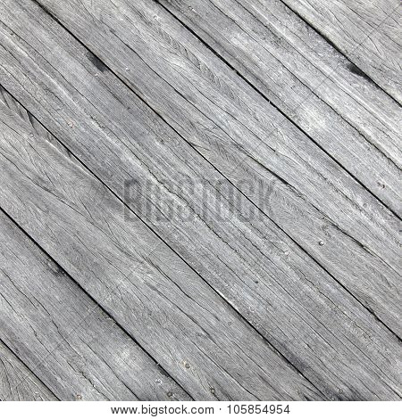 Square Picture Of Old Rough Gray Wooden Planks Diagonally Placed