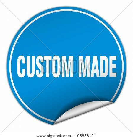 Custom Made Round Blue Sticker Isolated On White