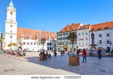 Tourists At Main Square In Bratislava City