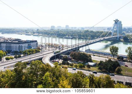 View Of Most Snp And Danube River In Bratislava