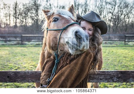 Funny Portrait Of A Girl With An Horse