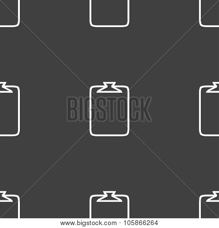 File Annex Icon. Paper Clip Symbol. Attach Sign. Seamless Pattern On A Gray Background.