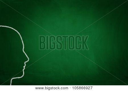 Human Head Drawing On Blackboard