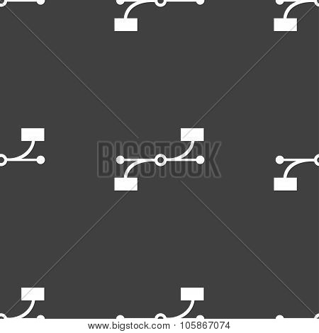Bezier Curve Icon Sign. Seamless Pattern On A Gray Background.