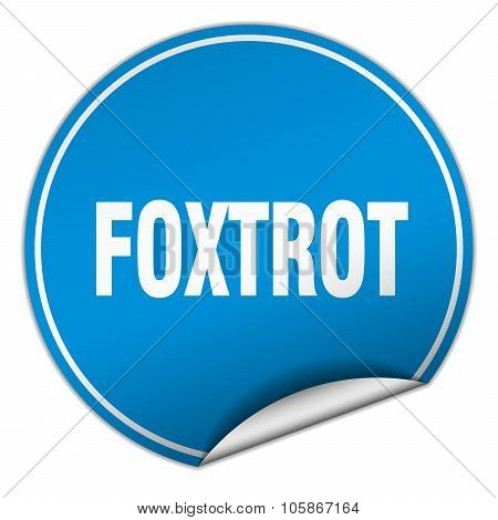 Foxtrot Round Blue Sticker Isolated On White