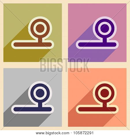 Icons of assembly instrument otolaryngologist in flat style