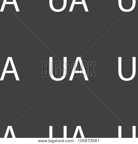 kraine Sign Icon. Symbol. Ua Navigation. Seamless Pattern On A Gray Background. Vector