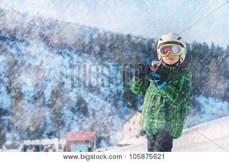 Young Skier In Full Ski Equipment In Ski Areal