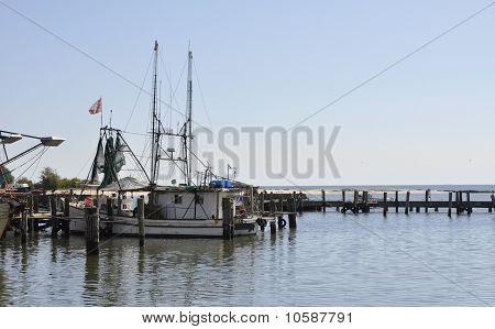 Fishing Boat In The Harbor In Biloxi, Mississippi
