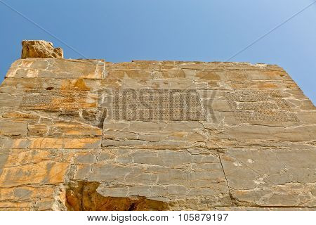 Inscription on Xerxes Gate of nations on the back of Lamassu statues at the entrance of the old city Persepolis. poster