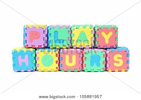Jigsaw boxes arranged as a word play hours