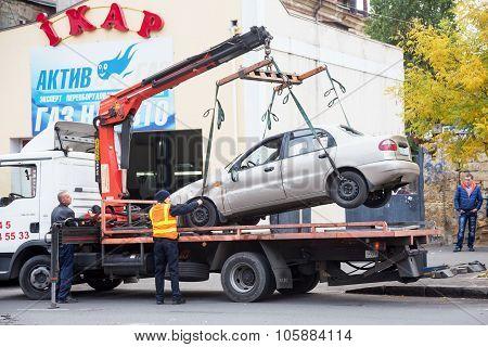 Odessa, Ukraine - October 24, 2015: Car Hauler Picks Up After A Car Accident October 24, 2015 In Ode
