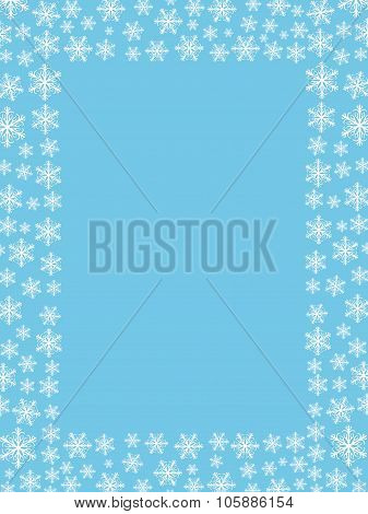 Winter Falling Snowflakes Frame / Border With Empty Space