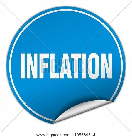 Inflation Round Blue Sticker Isolated On White
