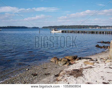 Beautiful coast line ocean beach landscape Funen Denmark poster