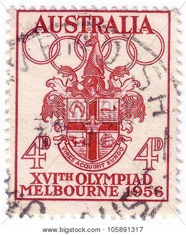 Australia - Circa 1956: A Stamp Printed In Australia Shows Melbourne Coat Of Arms, Circa 1956
