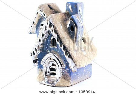 Toy Christmas House Isolated Over White