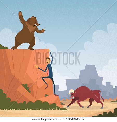 Stock Market Trader Concept Bull and Bear Fight Trend Business Man Climb Rock