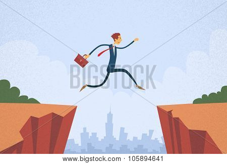 Businessman Jump Over Cliff Gap Mountain