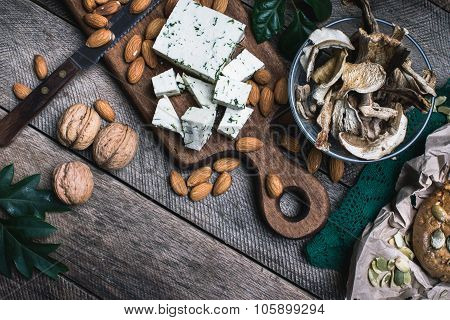 Nuts Mushrooms, Cheese And Bread Buns For Healthy Eating
