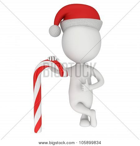 3D White Santa Claus Cap With Candy Cane.