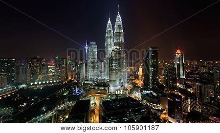 Cityscape Of Kuala Lumpur At Night