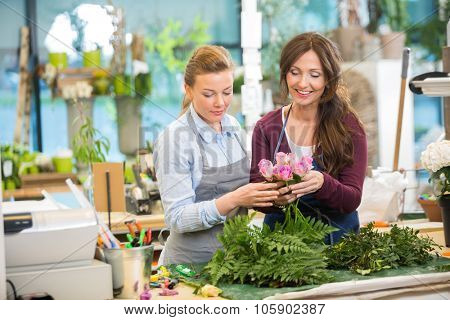 Florists making bouquet of pink roses in flower shop