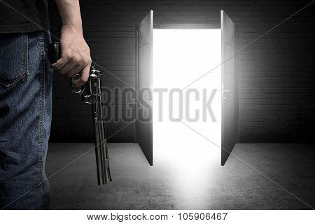 Man Hand Holding Gun