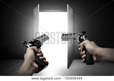 Man Hand Aiming Two Gun