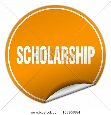 Scholarship Round Orange Sticker Isolated On White