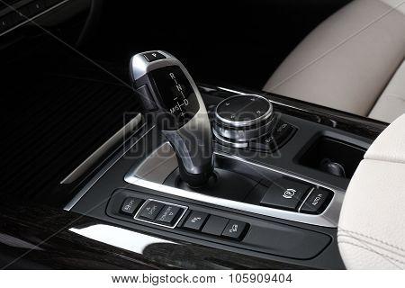 Car Interior. Gear Shifting Lever