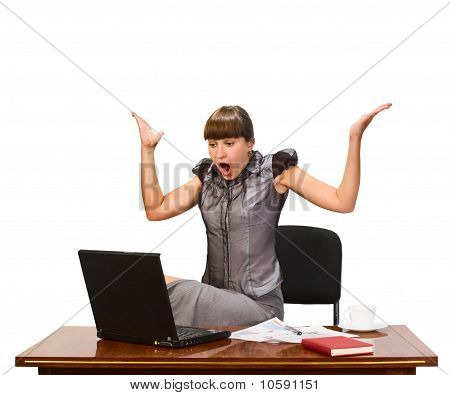 Businesswoman With Cap Of Coffee And Laptop