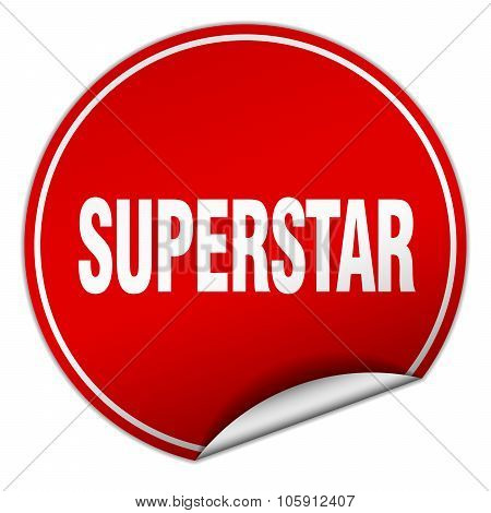 Superstar Round Red Sticker Isolated On White
