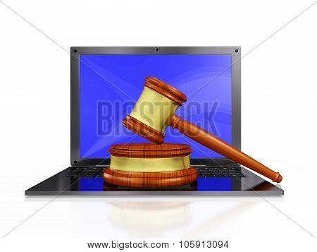 Judge Gavel Mallet On Laptop